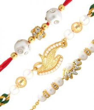 Buy Mahi Multicolour Brass Rakhi Combo Of 3 from SnapDeal