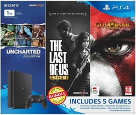 Buy Sony PS4 1 TB Slim Console (Free Games: Uncharted Collection, TLOU Remastered, GOW Remastered) from Amazon