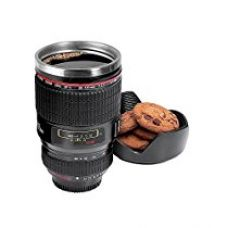 Inovera Camera Lens Coffee Mug Flask With Cookie Holder, Black for Rs. 425