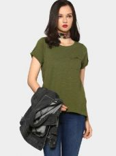 Abof Women Military Green Regular Fit High-low T-shirt for Rs. 395