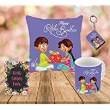 Buy Aart World's Best Sister Printed Cushion (16 X 16) with Filler, Ceramic Mug Capacity: (350 ML), Keyring and Greeting Card for Raksha Bandhan Gifts from Amazon