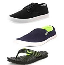 Buy Scatchite Men's Combo Of 3 Shoes- 1 Sneaker , 1 Loafers & 1 Slipper -10 from Amazon