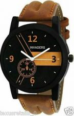 Buy Invaders INV-ESPR-BRN Highest selling trendy casual black dial mens watch for Rs. 329