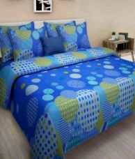 Homefab India Blue Cotton Double Bedsheet with 2 Pillow Cover for Rs. 499