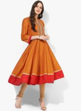 Get 50% off on Biba Rust Embellished Poly Cotton Anarkali