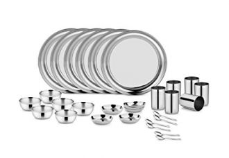 Buy Classic Essentials MGR109 Magic Range Stainless Steel Dinnerware Set, 30-Pieces, Silver from Amazon
