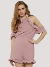 Flat 55% off on CATWALK88 Flounce Trimmed Playsuit