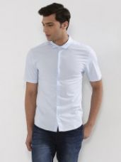 KOOVS Stretch Cotton Fitted Short Sleeve Shirt for Rs. 547