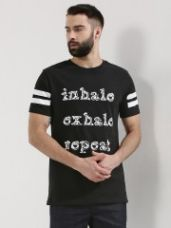 Flat 50% off on KINDRED Slogan Print T-Shirt With Striped Sleeve