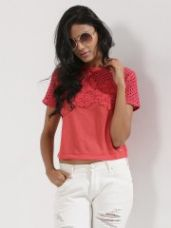 Buy ONLY Patch Lace Short Sleeve Top from Koovs