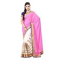 Buy ISHIN Georgette Pink & Cream Embellished Heavy Zari Border Party Wear fancy Lace Saree from Amazon