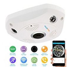 Buy ProElite F01A 1.3 MP 960p Fisheye 360° Panoramic Wireless Wifi [Watch Live Demo Right Now] HD IP CCTV Security Camera with SD card slot from Amazon