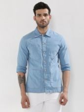 Flat 35% off on NOBLE FAITH Twill Denim Shacket With Multiple Pockets