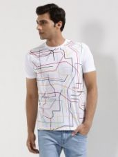 Flat 41% off on GARCON Multi Color Lines T-Shirt In Sublimation Print