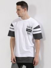 Buy GARCON Side Zip Longline T-Shirt With Contrast Panel In Boxy Fit for Rs. 569