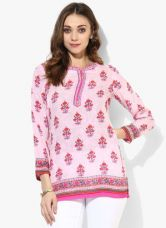 Get 40% off on Biba Pink Printed Polyester Kurti