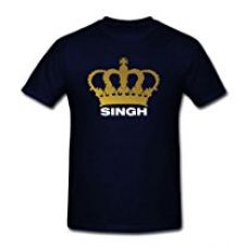 TheYaYaCafe New Year Printed Men's Cotton Brother T-shirt Royal Singh is King - Black - S for Rs. 499