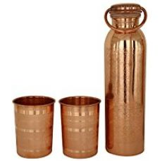JaipurCrafts Pure Copper Bottle With Two Tumbler Glass (JaipurCrafts02102) for Rs. 999