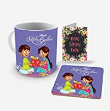 Buy Aart Best Brother in the world Printed Ceramic Mug Capacity: (350 ML), Coaster and Greeting Card for Raksha Bandhan Gifts from Amazon
