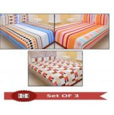 Flat 67% off on Set Of 3 Carah Multicolor Printed Double Bed Sheet With 6 Pillow Covers