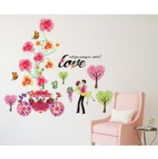 Wall Stickers Flowers Cart And Roses Design Love Couple Marry Me Bedroom Design Vinyl for Rs. 149
