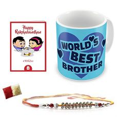 Indigifts Crystal Rakhi , World's Best Brother Quote Printed Mug 330 Ml,Roli, Chawal & Greeting Card For Men And Boys for Rs. 349