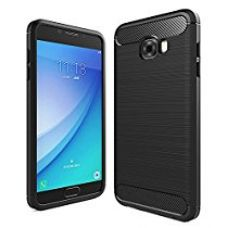 Samsung Galaxy C7 Pro Back Cover, Rugged Armor Shockproof TPU Case for Samsung C7 Pro Mobile Phone, Premium Protection - Metallic Black by Golden Sand for Rs. 599