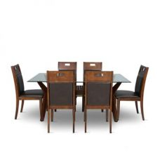 Flat 61% off on Wesco Six Seater Dining Set Oak And Espresso