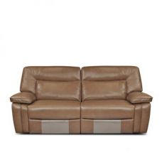 Buy Indulge Half Leather Three Seater Recliner Brown from Fabfurnish