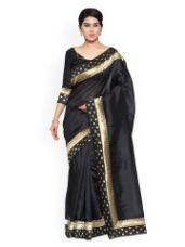 OOMPH Black Solid Art Silk Saree for Rs. 900