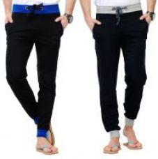 Get 62% off on Combo Of 2 Ribbed Solid Men's Black, Grey Track Pants(G#11)