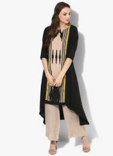 W Black Printed Polyester Kurta for Rs. 750