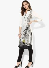 Biba White Printed Viscose Kurta for Rs. 600