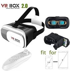 Generic VR Box 2nd Generation Enhanced Version Reality Cardboard 3D Video Glasses Headset With Bluetooth Remote Control For iOs,Android Phones,White for Rs. 385