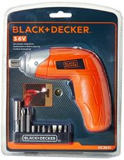 BLACK+DECKER KC3610 3.6V NiCd Cordless Screw Driver Kit (Orange, 10- Accessories included) for Rs. 1,099