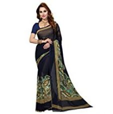 Buy Ishin Faux Georgette Saree (Ishin-20024_Blue) from Amazon