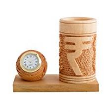 Buy JaipurCrafts Decorative Rupees Symbol Pen Stand With Clock from Amazon
