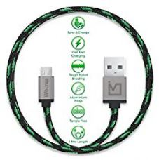 IVoltaa Pixie Micro USB to USB 2.0 Braided Cable - 4 Feet (1.2 Meter) - Yoda Green for Rs. 249