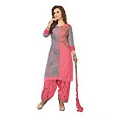 Buy Oomph! Cotton Embroidered Salwar Suit Dupatta Dress Material - Punch Pink from Amazon