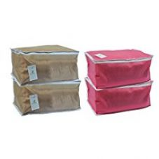 Buy Homestrap Non Woven Large Saree Cover - Pink & Beige (Set of 4) from Amazon