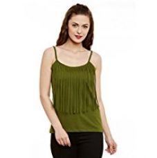 Buy Miss Chase Womens Olive Green Spaghetti Top from Amazon