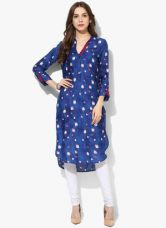 Biba Blue Printed Viscose Kurta for Rs. 660