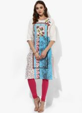 Buy Aurelia Off White Printed Cotton Kurta from Jabong
