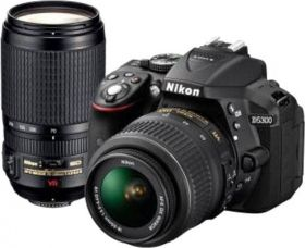 Buy Nikon D5300 DSLR Camera with Kit Lens (AF-P DX NIKKOR 18 - 55 mm f/3.5 - 5.6G VR + AF-P DX NIKKOR 70 - 300 mm f/4.5 - 6.3G ED VR)  (Black) from Flipkart