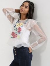 Buy RENA LOVE Organza blouse with embroidery from Koovs