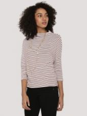 Flat 47% off on NEW LOOK Funnel Neck Striped T-Shirt