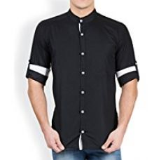 GHPC 100% Cotton Stand Collar Casual Shirt (CS6231136_Black_Size:36) for Rs. 411