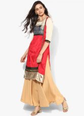 W Red Printed Kurta for Rs. 1200