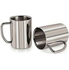 250 ml Mug Stainless Steel Double Layered Thick Coffee Milk Tea Cup / Mug - 2 Pcs Set for Rs. 399