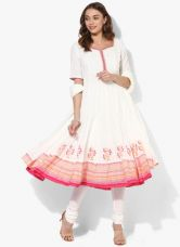 Get 40% off on Biba White Printed Cotton Churidar Kameez Dupatta